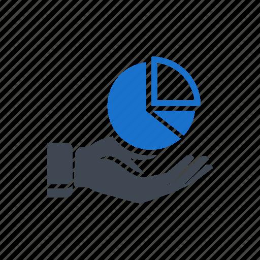 analysis, chart, hand, market, pie, piechart icon