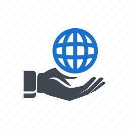 business, global, hand, market, world icon