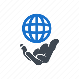 business, earth, global, hand, market icon