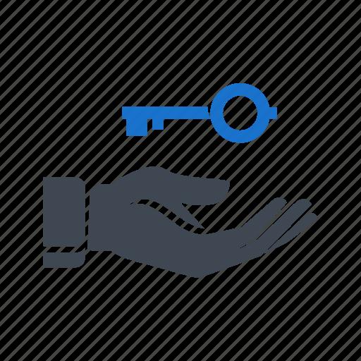business, hand, key, success, success key icon