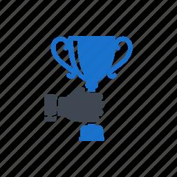 achievement, award, hand, trophy, win icon