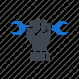 fist, hand, mechanic, professional, repair, tools icon