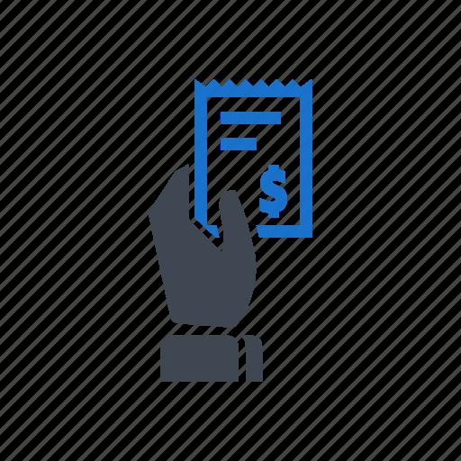 bill, billing, hand, receipt icon