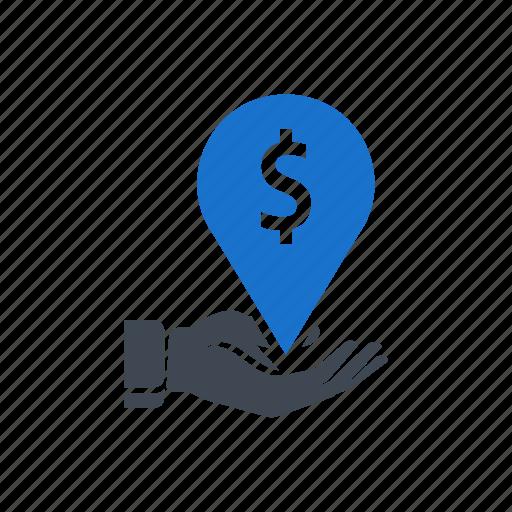 business, dollar, hand, location, money icon