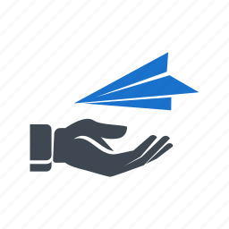 email, hand, mail, paper plane, plane, receive icon