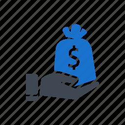 bag, dollar, hand, money, money bag, savings icon
