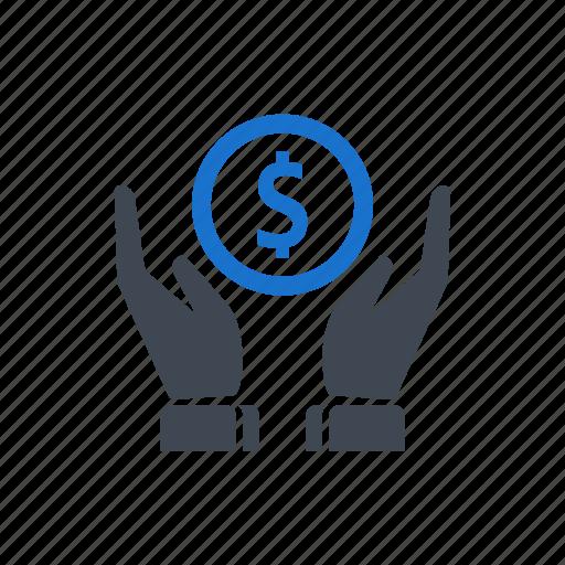 dollar, hand, money, savings icon