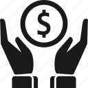 dollar, hand, money, savings icon