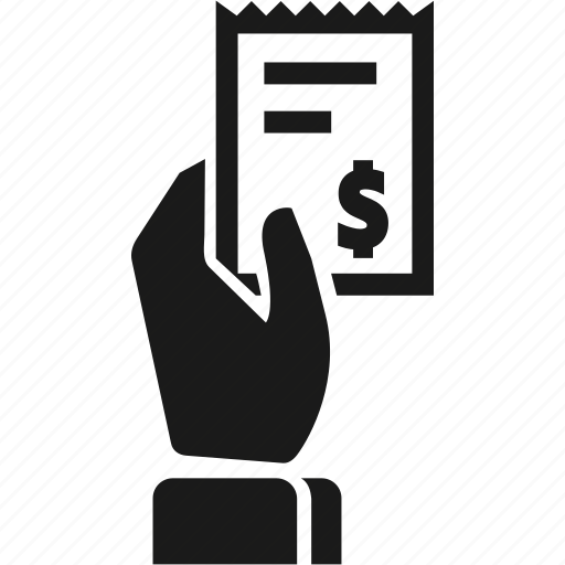 bill, billing, hand, information, receipt icon