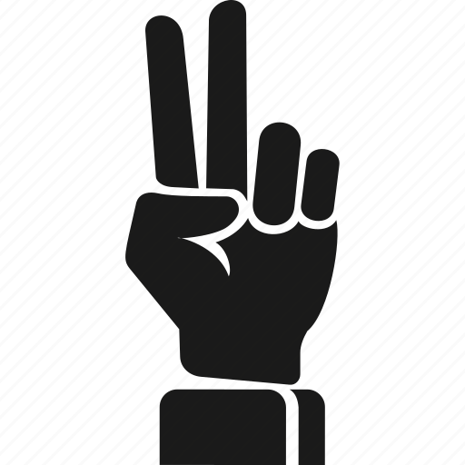 finger, hand, victory icon