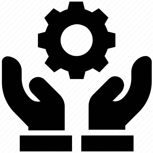 care, cogwheel, gear, giving, hands support, safe, support icon