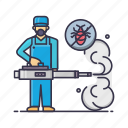 bug, fumingation, handyman, man, mask, removal, smoke