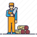 carpenter, cutter, handyman, man, saw, tools, wood icon