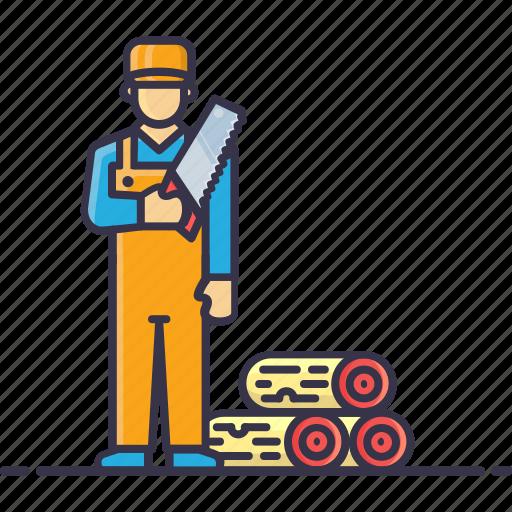 carpenter, cutter, handyman, man, saw, tools, wood icon