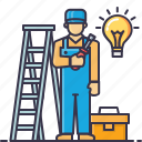 bag, bulb, driver, electrician, handyman, ladder, screw icon
