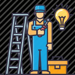 bag, bulb, driver, electrician, handyman, ladder, screw icon