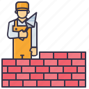 brick, handyman, man, mason, sovel, tools icon