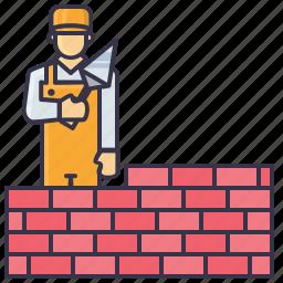 brick, handyman, man, mason, sovel, tools icon