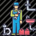basin, nut, pipe, plumber, spanner, tap, tools