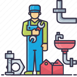 basin, nut, pipe, plumber, spanner, tap, tools icon