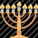 hanukkah, menorah, judaism, candle, candlestick, jewish, lampstand icon