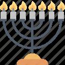 menorah, judaism, lampstand, candlestick, candles, jewish, religion icon