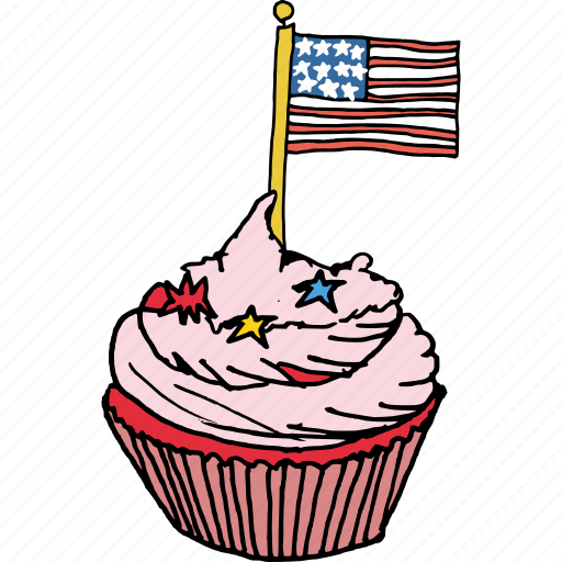 america, american, celebrations, cupcake, flag, july 4th, sweet icon