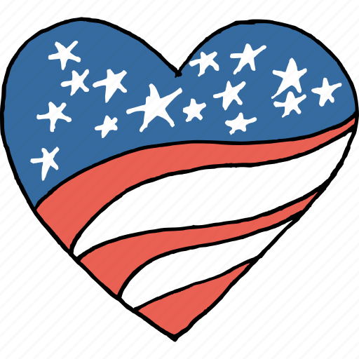 america, american, heart, independence day, july 4th, passion, patriotism icon