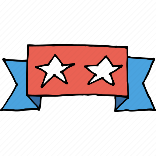 america, flag, independence day, july 4th, ribbon, star, united states icon