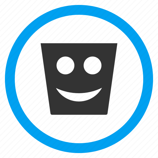 happy dustbin, recycle bin, rubbish basket, smile, smiley, trash can, trashcan icon
