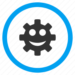 engineering, face, gear, happy, smile, technology, wheel icon