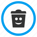 happy dustbin, recycle bin, rubbish basket, smile, smiley, trash can, trashcan icon