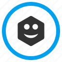 emotion, glad, happy, hexagon, hexagonal figure, smile, smiley icon