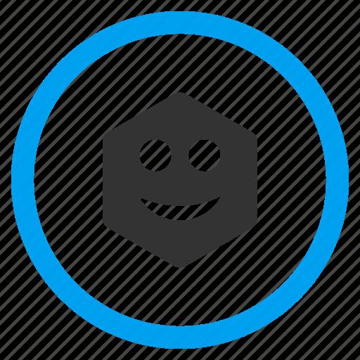 emotion, glad, happy, hexagon, hexagonal figure, smile, smiley icon