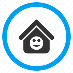 glad smiley, happy, home, house, positive emotion, real estate, smile icon
