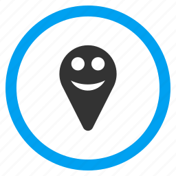 happy, location, map marker, pin, place, pointer, smile icon
