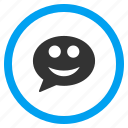 chat, comment, glad smiley, happy, message, positive emotion, smile icon