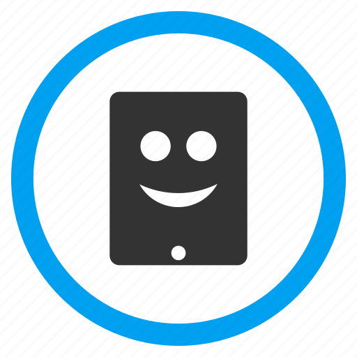 glad smiley, happy, ipad, mobile tablet, portable, positive emotion, smile icon