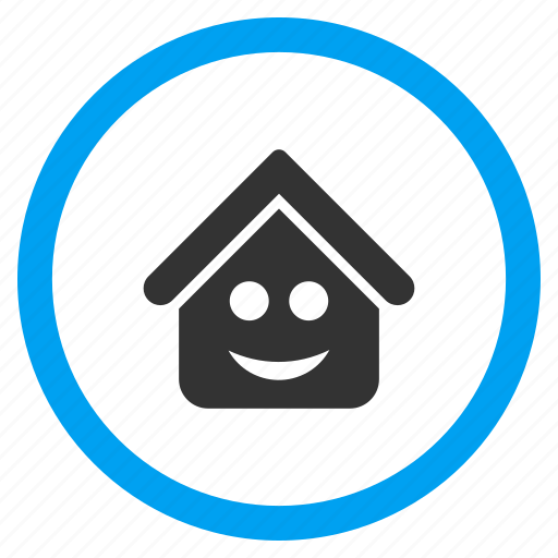 glad smiley, happy face, home, house, positive emotion, real estate, smile icon