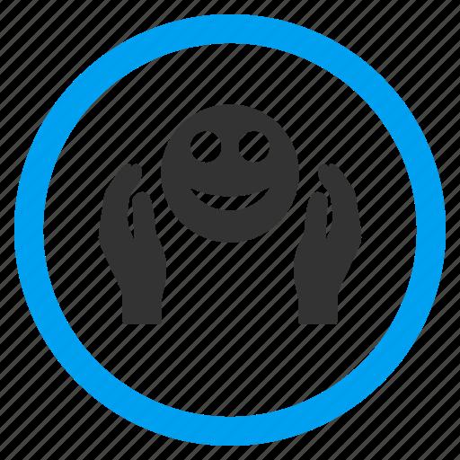 care hands, emoticon, glad smiley, happy, positive emotion, regard, smile face icon