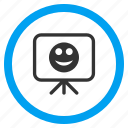 board, glad smiley, happy, positive emotion, presentation, screen, smile icon
