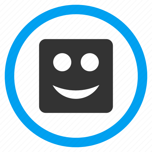 emoticon, funny, glad smiley, happy face, positive emotion, smile, square icon
