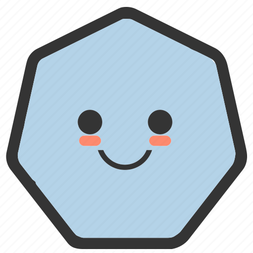 emoji, emoticons, face, heptagon, shapes, smile, smiley icon