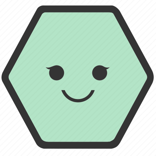 emoji, emoticons, face, hexagon, shapes, smile, smiley icon