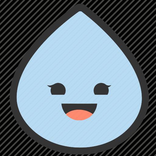 emoji, emoticons, face, happy, raindrop, shapes, smiley icon