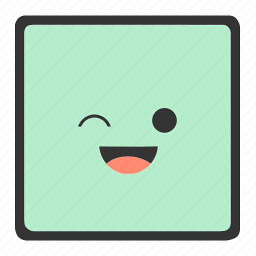 emoji, emoticons, face, shapes, smiley, square, wink icon