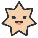 emoji, emoticons, face, happy, shapes, smiley, star