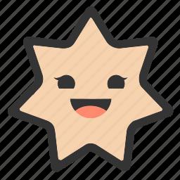 emoji, emoticons, face, happy, shapes, smiley, star icon