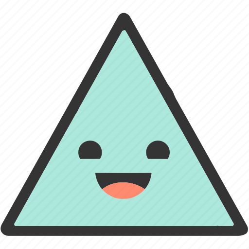 emoji, emoticons, face, happy, shapes, smiley, triangle icon