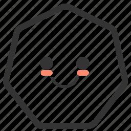 emoji, emoticons, face, heptagon, shapes, smile, smiley icon